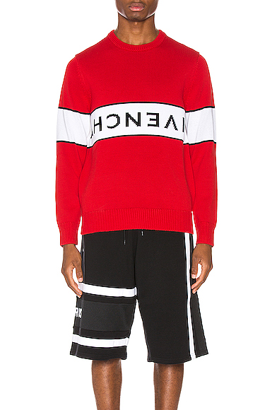 Givenchy Upside-Down Logo Intarsia Jumper In Red & White