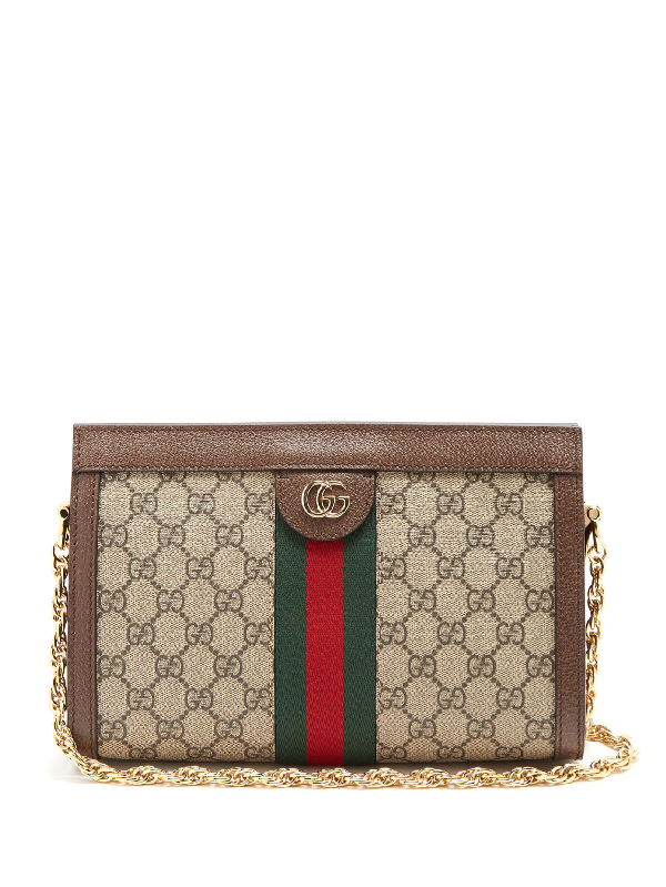 Gucci Ophidia Gg Supreme Leather Shoulder Bag In Grey Multi