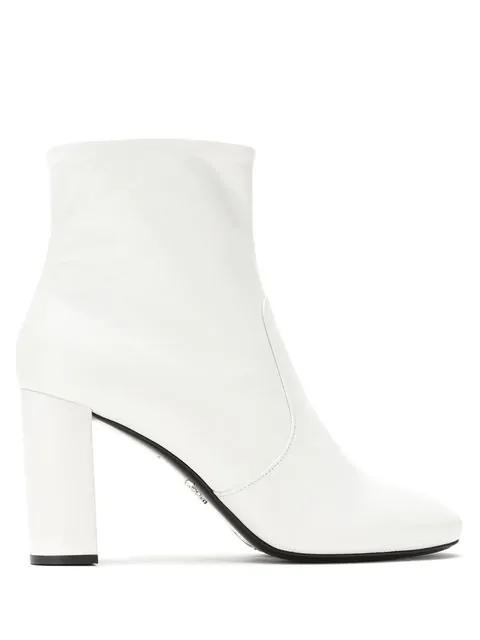 Prada Women's Leather Heel Ankle Boots Booties In White