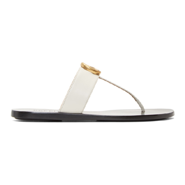 Gucci Marmont Logo-Embellished Leather Sandals In 9022 White