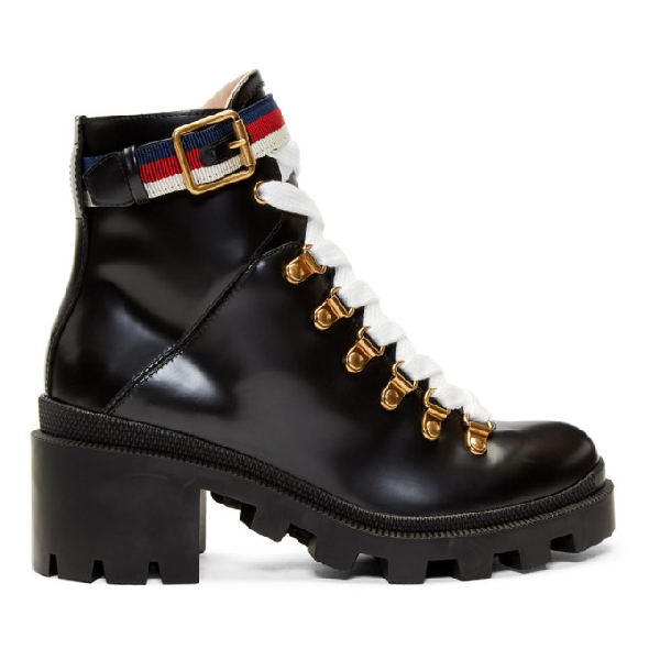 Gucci Grosgrain-Trimmed Leather Ankle Boots In 1159 Black