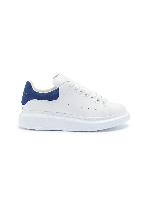 Alexander Mcqueen White Navy Blue Runway Leather Suede Platform Sneakers