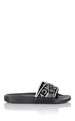 Givenchy Logo-Jacquard Webbing, Leather And Rubber Slides In Wht.&Blk.