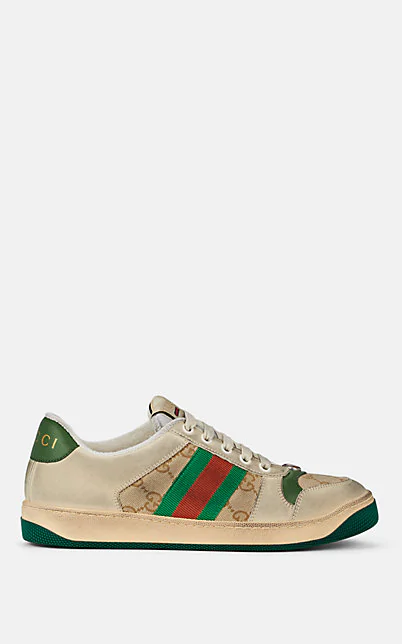 Gucci Screener Canvas-Trimmed Distressed Leather Sneakers In White
