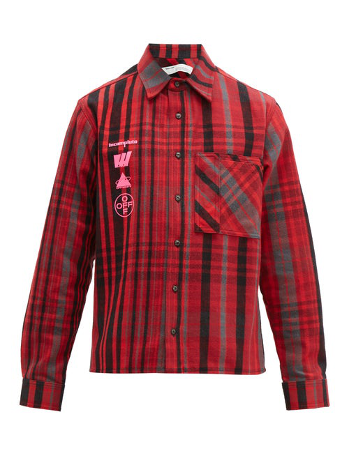 Off-White Mariana De Silva Checked Cotton-Blend Flannel Shirt In Red