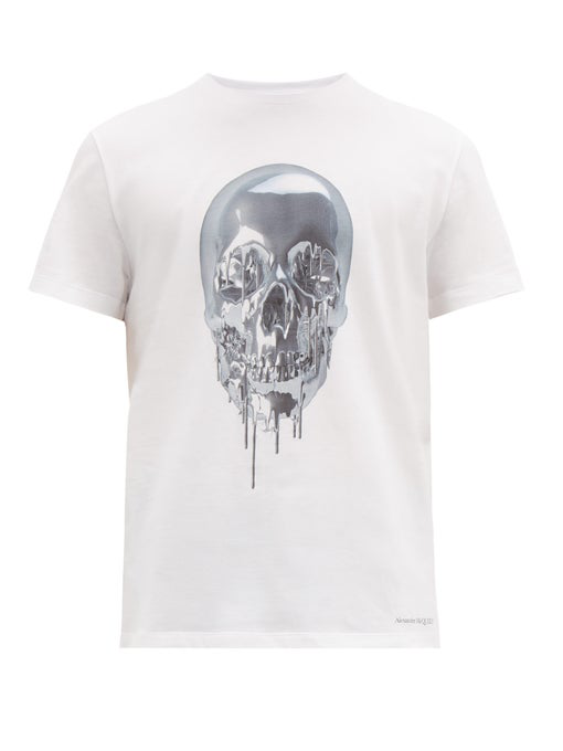 Alexander Mcqueen Melting Metal Skull-Print Cotton T-Shirt In White