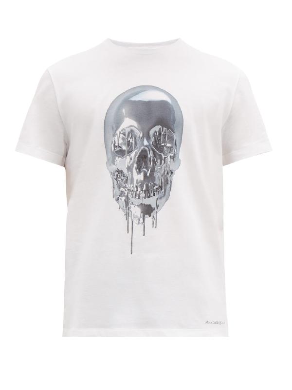 Alexander Mcqueen Melting Metal Skull-print Cotton T-shirt In White