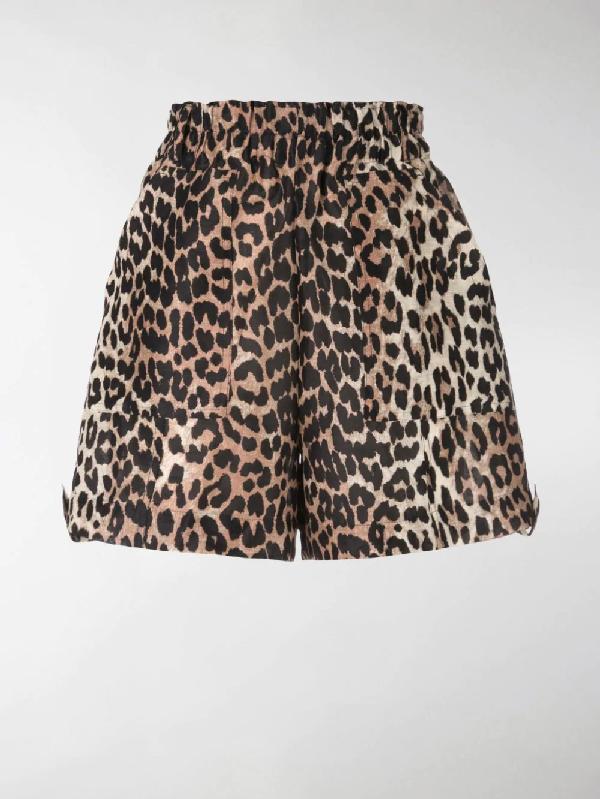 d7ac037790e9 Ganni Cedar Leopard Print Linen And Silk Shorts In Brown | ModeSens
