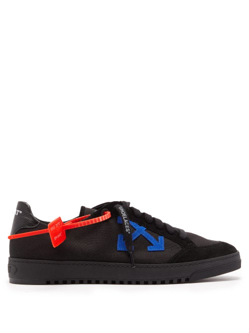 Off-White 2.0 Logo AppliquÉ Low Top Canvas Trainers In Black