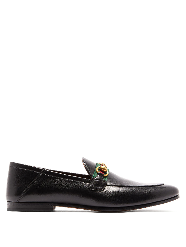 Gucci 'brixton' Web Stripe Horsebit Leather Step-in Loafers In 1078 Nero/n