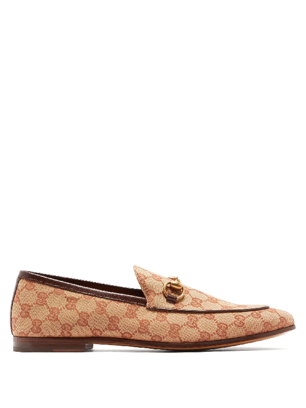Gucci 10mm Canvas Gg All Over Loafers In Beige/brick Red Original Gg Canvas