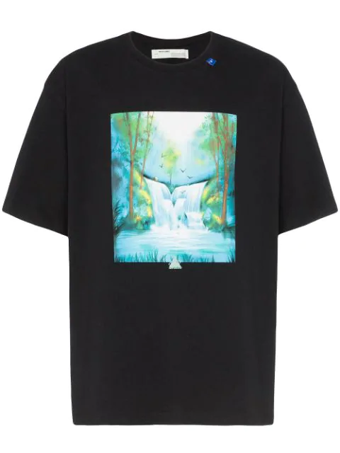 Off-white T-shirt Waterfall Oversize In Cotone Con Stampa In 1088 Blkmul