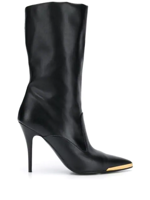 Stella Mccartney Embellished Faux Leather Ankle Boots In Black