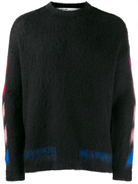 Off-White Black Logo-Intarsia Mohair-Blend Jumper In 1088 Black Multicolor