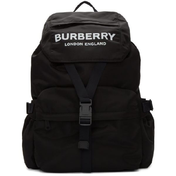 Burberry Large Wilfin Printed Logo Nylon Backpack In Black