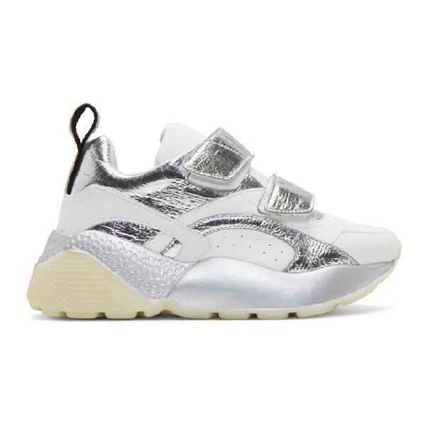 Stella Mccartney Eclypse Sneakers Velcro In White And Silver Eco-leather In 9029 Wh/sil