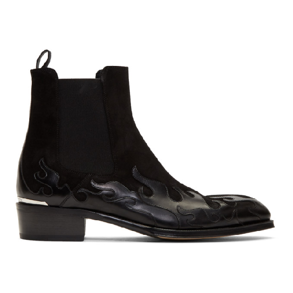 Alexander Mcqueen 'flame' Patchwork Leather And Suede Chelsea Boots In Black
