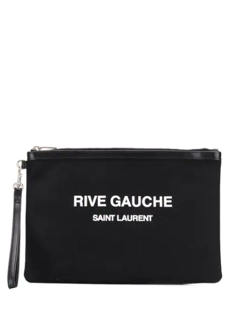 Saint Laurent Black Cotton Pouch With Logo Print