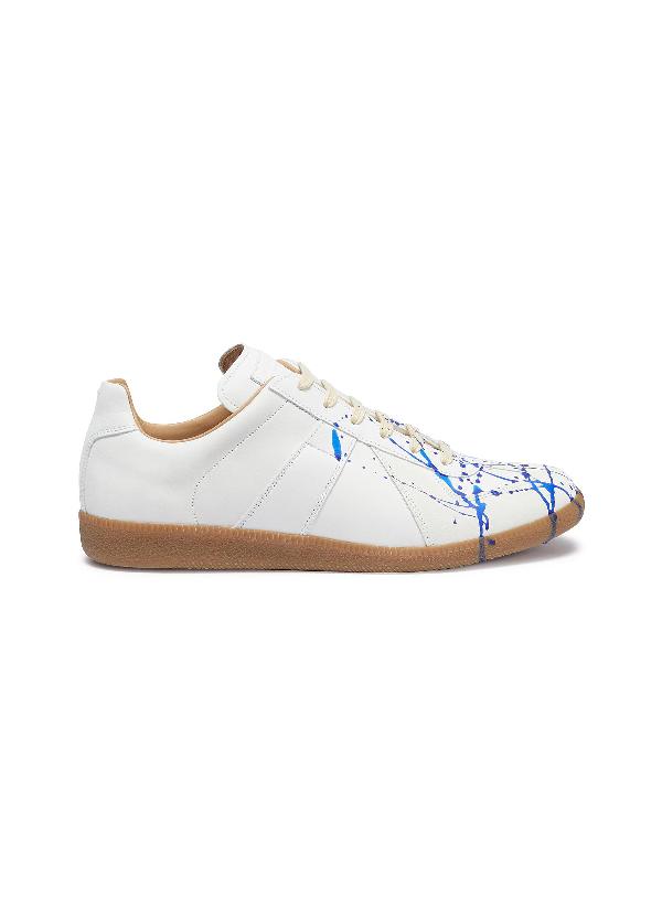 Maison Margiela Replica泼墨图案真皮拼接绒面皮运动鞋 In Blue Paint
