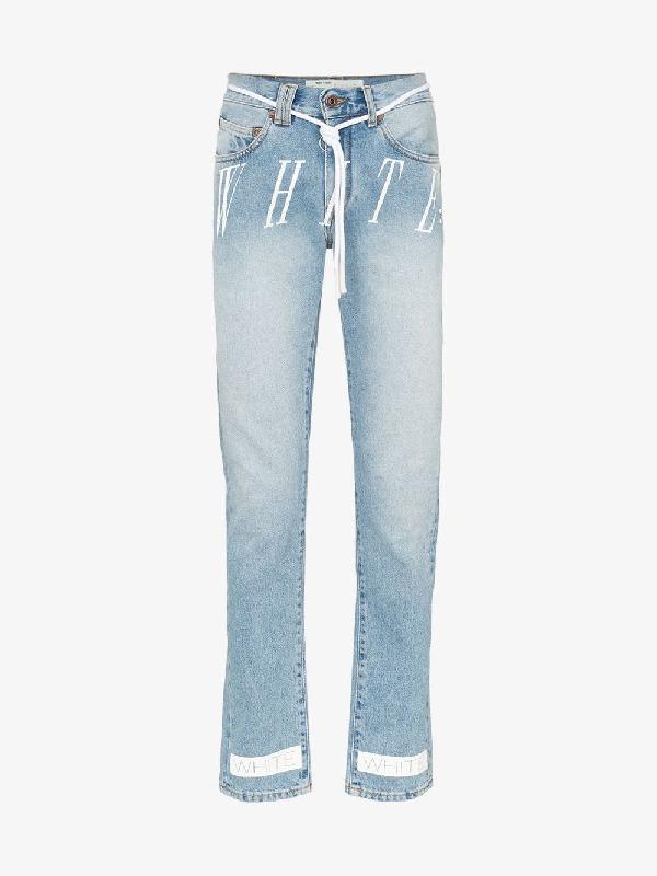 Off-white Slim Denim Bleach Nikel Jeans In Light Blue