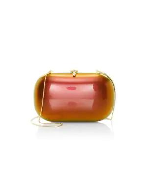 Jeffrey Levinson Elina Plus Gloss Clutch In Red Orange