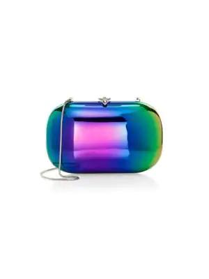 Jeffrey Levinson Elina Plus Mirrored Aerospace Aluminum Clutch In Rainbow