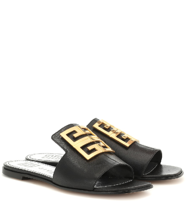 Givenchy Sandals 4G Flat Calfskin Logo Metallic Black