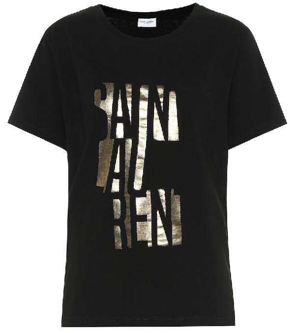 Saint Laurent Round-Neck T-Shirt With Logo Print In Black