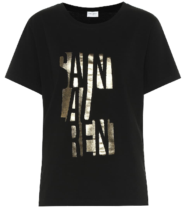Saint Laurent Round-neck T-shirt With Logo Print In Black