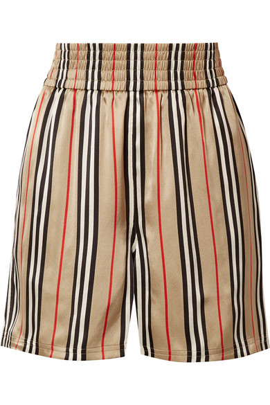 Burberry Striped Wide High-Rise Silk Shorts In Sand