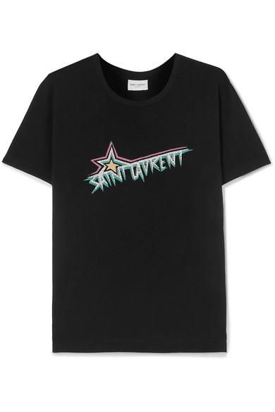 Saint Laurent Black Women's Star Logo Printed T-Shirt