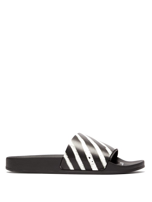 Off-White Diagonal-Striped Rubber Slide Sandals In Black