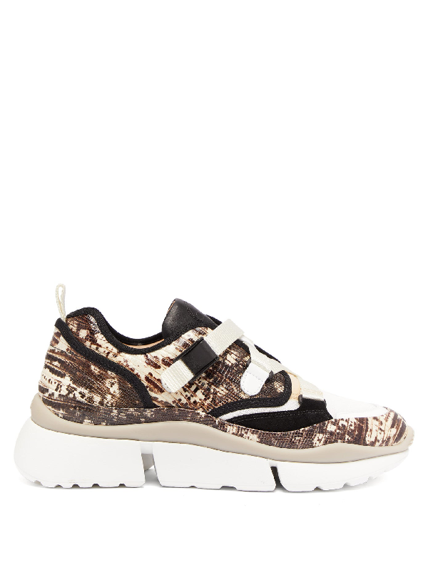 ChloÉ 'sonnie' Chunky Outsole Low Top Lizard Embossed Patchwork Sneakers In Neutrals