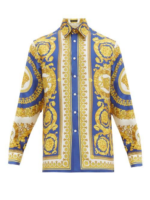 Versace Camicia In Seta Con Stampa Gold Barocco In Golden-Yellow
