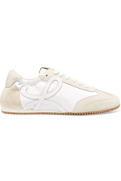 Loewe Ballet Runner Leather And Suede Sneakers In White