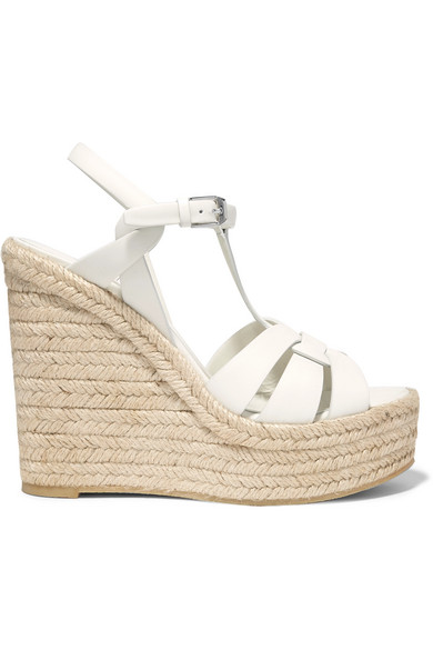 Saint Laurent Tribute Woven Leather Espadrille Wedge Sandals In White