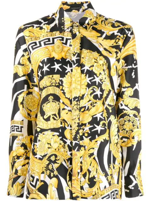 Versace Savage Barocco Print Detailed Silk Shirt In Black