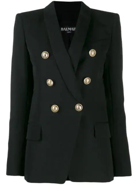 Balmain Double Breasted Wool Gabardine Blazer In Black