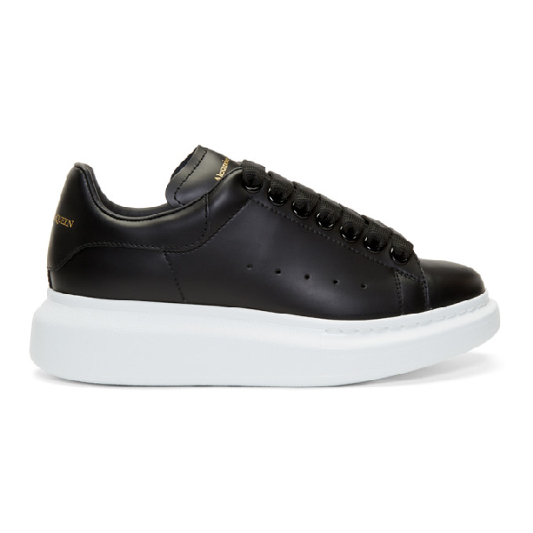 Alexander Mcqueen Runway Leather Platform Trainers In 1000 Black