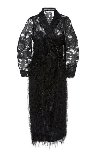 Ganni Feather-embellished Floral-jacquard Midi Dress In Black