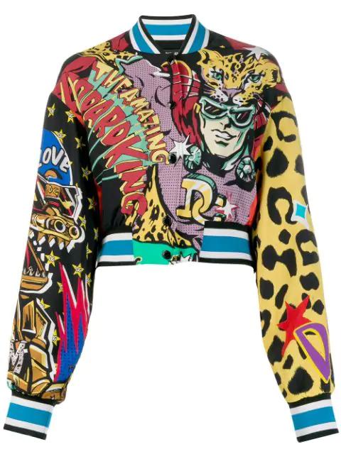 Dolce & Gabbana Short Cady Bomber Jacket With Super Heroine Print In Black