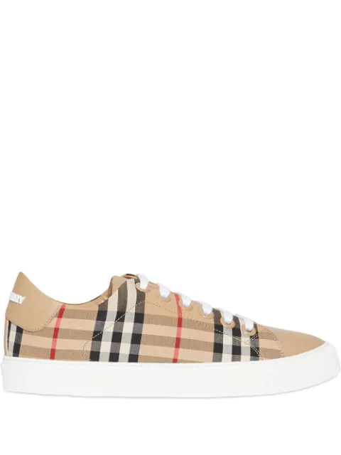 Burberry Albridge Low Sneakers In Archive Beige Calf Leather In A7026