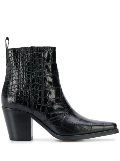 Ganni Callie Crocodile-embossed Leather Ankle Boots In Black