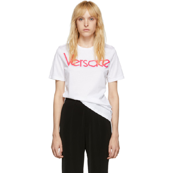 Versace Embroidered Vintage Logo Loose Fit T-shirt In White
