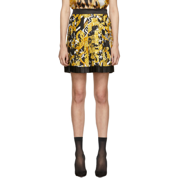 Versace Pleated Printed Silk-twill Mini Skirt In Multicolor