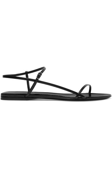 The Row Bare Crossover Strap Leather Sandals In Black