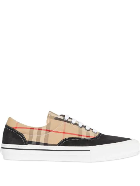 Burberry Multicolor Men's Vintage Check Cotton And Suede Sneakers In A1189