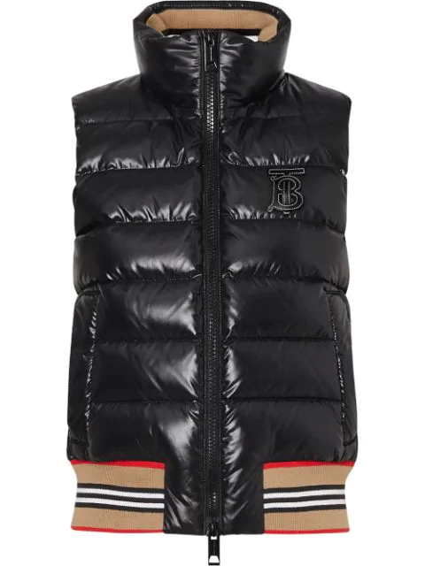Burberry Icon Stripe Detail Down-filled Puffer Gilet In Black