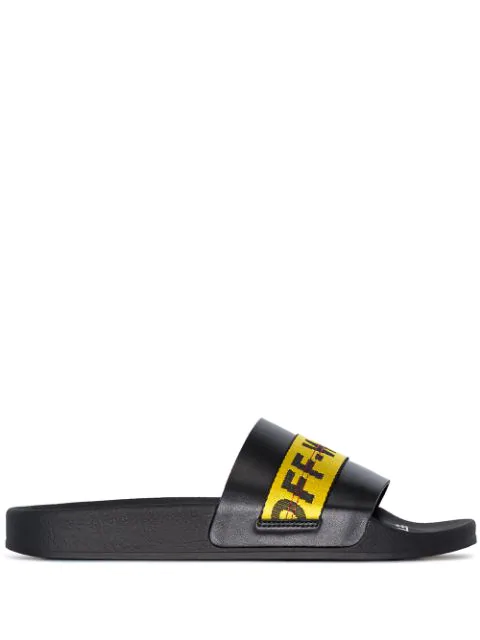 Off-white Industrial Stripe Slides - 黑色 In Black/yellow