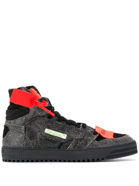 "Off-White ""Off-Court"" 3.0 Black Leather Hi-Top Sneakers In 0700 Melange Grey No Color"